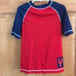 Gymboree Red and Navy boys Rash Gaurd swim shirt.